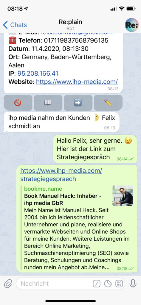 Web-Chat - Administrator Ansicht